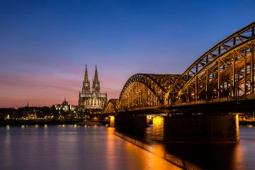 cathedral of cologne and hohenzollern bridge at sunset- Stock Photo or Stock Video of rcfotostock   RC-Photo-Stock