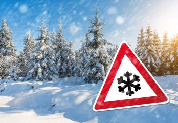Caution snow fall at winter- Stock Photo or Stock Video of rcfotostock | RC-Photo-Stock