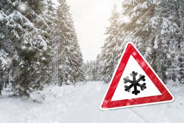 Caution winter time with snow fall- Stock Photo or Stock Video of rcfotostock | RC-Photo-Stock