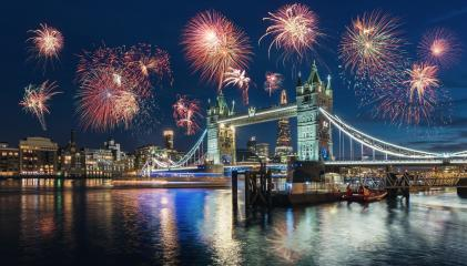 celebration of the New Year in London at the Tower bridge with firework, UK- Stock Photo or Stock Video of rcfotostock | RC-Photo-Stock