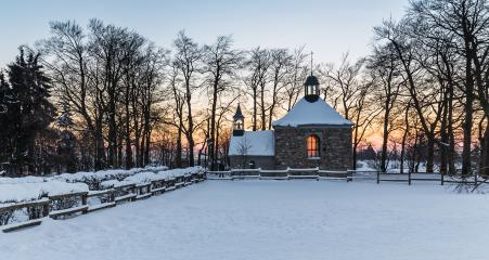 Chapel Fischbach at Baraque Michel on a winter sunset : Stock Photo or Stock Video Download rcfotostock photos, images and assets rcfotostock | RC-Photo-Stock.: