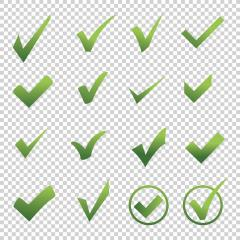 Check icon set 3d, ok symbol in different on checked transparent background. Vector illustration. Eps 10 vector file.- Stock Photo or Stock Video of rcfotostock | RC-Photo-Stock