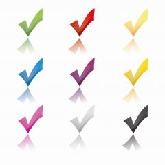 Check icon set in different color glossy stile, ok symbol in different colors on white background. Vector illustration. Eps 10 vector file.- Stock Photo or Stock Video of rcfotostock | RC-Photo-Stock