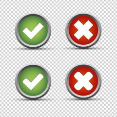 Checkmark and cross buttons on checked transparent background. Vector illustration. Eps 10 vector file.- Stock Photo or Stock Video of rcfotostock | RC-Photo-Stock
