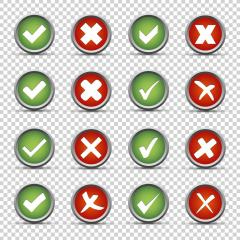 Checkmark and cross buttons set on checked transparent background. Vector illustration. Eps 10 vector file. : Stock Photo or Stock Video Download rcfotostock photos, images and assets rcfotostock | RC-Photo-Stock.: