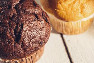 Chocolate muffin and blueberry muffin, homemade bakery- Stock Photo or Stock Video of rcfotostock | RC-Photo-Stock
