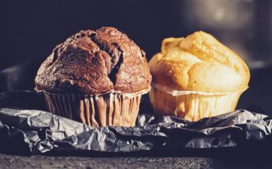 Chocolate muffin and blueberry muffin, homemade bakery, on dark background- Stock Photo or Stock Video of rcfotostock   RC-Photo-Stock
