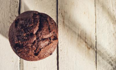 Chocolate muffin, homemade bakery on a wooden table, including copy space- Stock Photo or Stock Video of rcfotostock | RC-Photo-Stock