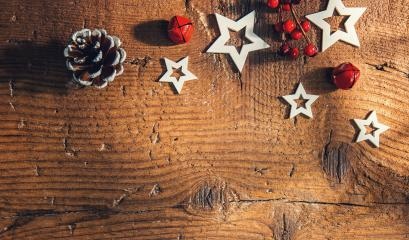christmas and winter decorated in greeting card style on a wooden table, including copy space- Stock Photo or Stock Video of rcfotostock | RC-Photo-Stock