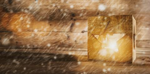 Christmas background with a shining star symbol lantern, wood board and snow background - Stock Photo or Stock Video of rcfotostock | RC-Photo-Stock
