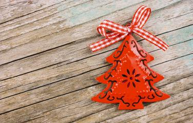 Christmas background with decorations on wooden table. - Stock Photo or Stock Video of rcfotostock | RC-Photo-Stock