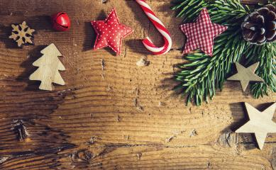 christmas ornaments on old wood background in greeting card style, including copy space- Stock Photo or Stock Video of rcfotostock | RC-Photo-Stock