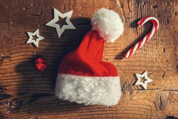 christmas santa hat with candy cane and decoration on a wooden board, Merry Christmas background : Stock Photo or Stock Video Download rcfotostock photos, images and assets rcfotostock | RC-Photo-Stock.: