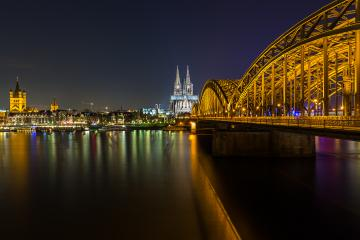city of cologne at night with Cathedral and bridge : Stock Photo or Stock Video Download rcfotostock photos, images and assets rcfotostock | RC-Photo-Stock.: