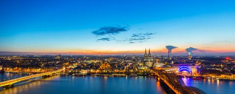 City skyline of Cologne at dusk  : Stock Photo or Stock Video Download rcfotostock photos, images and assets rcfotostock | RC-Photo-Stock.: