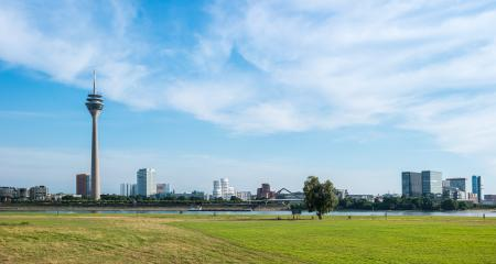 Cityscape of Dusseldorf in a cloudy summer day- Stock Photo or Stock Video of rcfotostock | RC-Photo-Stock