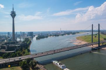 Cityscape of Dusseldorf over the Rhine river at summer- Stock Photo or Stock Video of rcfotostock | RC-Photo-Stock