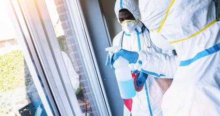 Cleaners in disinfection and cleaning in clinic during Covid-19 coronavirus epidemic  : Stock Photo or Stock Video Download rcfotostock photos, images and assets rcfotostock | RC-Photo-Stock.: