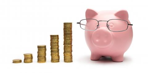 Clever Piggy Bank with stacked coins- Stock Photo or Stock Video of rcfotostock | RC-Photo-Stock