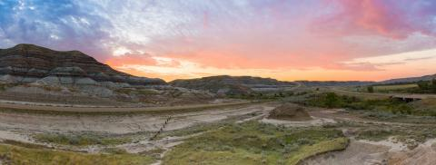 Cloaudy Sunrise panorama at the Badlands in Alberta canada : Stock Photo or Stock Video Download rcfotostock photos, images and assets rcfotostock | RC-Photo-Stock.: