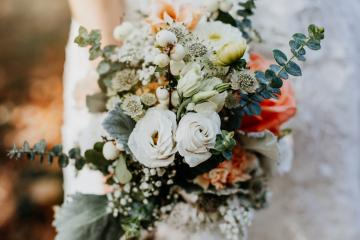 Close up of a vintage wedding bouquet with beautiful colors. Green and white flowers. Bride holds the colorful flowers with white dress. : Stock Photo or Stock Video Download rcfotostock photos, images and assets rcfotostock   RC-Photo-Stock.: