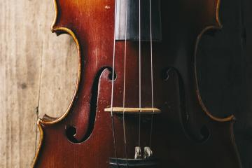 Close view of a violin strings and bridge- Stock Photo or Stock Video of rcfotostock | RC-Photo-Stock