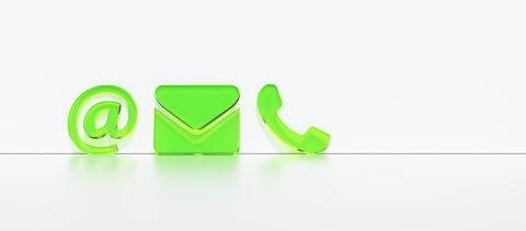 Close-up Of A Phone, Email and Post Icons Leaning On White Wall. Contact Methods, concept image- Stock Photo or Stock Video of rcfotostock | RC-Photo-Stock