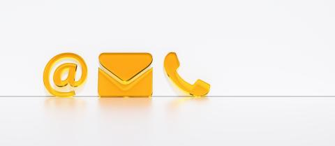 Close-up Of A Phone, Email and Post Icons Leaning On White Wall. Contact Methods- Stock Photo or Stock Video of rcfotostock | RC-Photo-Stock
