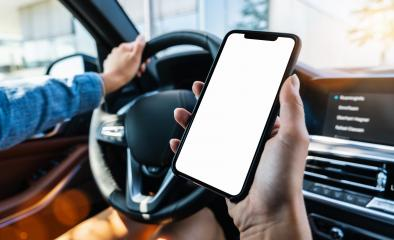 Close-up of Woman holding black mobile phone in hands with blank desktop screen while car driving at summer in the city, Mockup image- Stock Photo or Stock Video of rcfotostock | RC-Photo-Stock