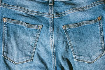 closeup texture of back pocket blue denim jeans- Stock Photo or Stock Video of rcfotostock | RC-Photo-Stock