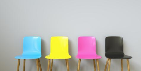 CMYK Colored Chairs , with copy space for individual text- Stock Photo or Stock Video of rcfotostock | RC-Photo-Stock