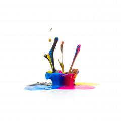 CMYK paint splash colors isolated on white- Stock Photo or Stock Video of rcfotostock | RC-Photo-Stock
