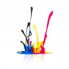 CMYK paint splashing isolated on white- Stock Photo or Stock Video of rcfotostock | RC-Photo-Stock