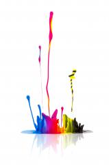 CMYK paint splashing isolated on white- Stock Photo or Stock Video of rcfotostock   RC-Photo-Stock
