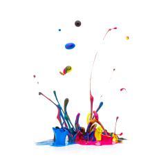 CMYK paint splashing on white- Stock Photo or Stock Video of rcfotostock | RC-Photo-Stock