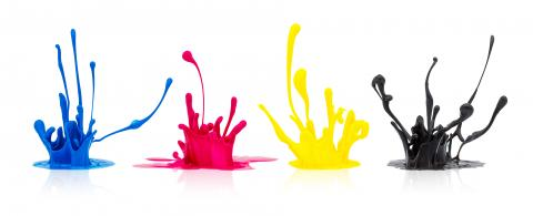CMYK paint splashing on white : Stock Photo or Stock Video Download rcfotostock photos, images and assets rcfotostock | RC-Photo-Stock.: