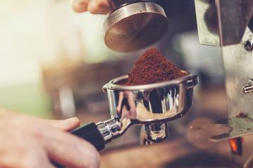 coffee grinder grinding freshly roasted make beans into a powder - Stock Photo or Stock Video of rcfotostock | RC-Photo-Stock