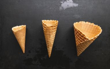 Collection of empty ice cream cone on a table- Stock Photo or Stock Video of rcfotostock | RC-Photo-Stock
