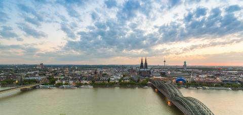 Cologne aerial view at dusk with cloudy sky- Stock Photo or Stock Video of rcfotostock   RC-Photo-Stock
