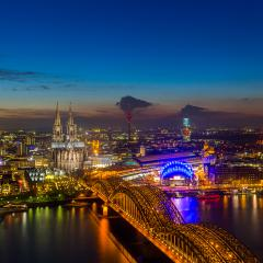 Cologne Cathedral and bridge at sunset : Stock Photo or Stock Video Download rcfotostock photos, images and assets rcfotostock | RC-Photo-Stock.: