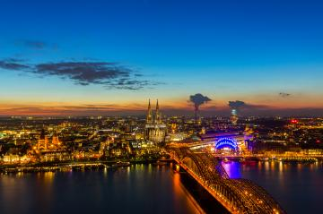 Cologne Cathedral and Hohenzollern at sunset : Stock Photo or Stock Video Download rcfotostock photos, images and assets rcfotostock | RC-Photo-Stock.: