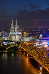 Cologne Cathedral and Hohenzollern Bridge at night- Stock Photo or Stock Video of rcfotostock   RC-Photo-Stock