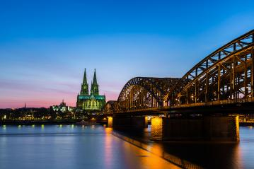 Cologne cathedral and hohenzollern bridge at sunset- Stock Photo or Stock Video of rcfotostock | RC-Photo-Stock
