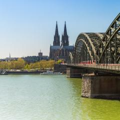 cologne cathedral and Hohenzollern bridge in spring time- Stock Photo or Stock Video of rcfotostock | RC-Photo-Stock