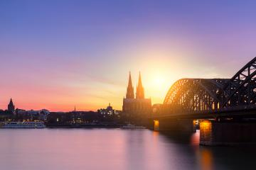 Cologne cathedral and hohenzollern bridge Silhouette- Stock Photo or Stock Video of rcfotostock | RC-Photo-Stock