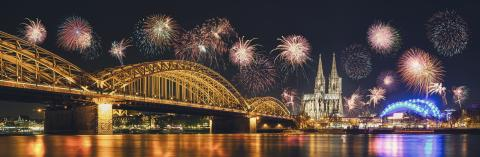 Cologne Cathedral and Hohenzollern Bridge with Fireworks on New Year day, Cologne, Germany- Stock Photo or Stock Video of rcfotostock | RC-Photo-Stock