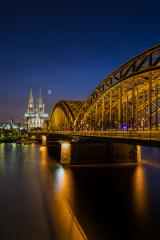 Cologne cathedral at night with moon- Stock Photo or Stock Video of rcfotostock | RC-Photo-Stock