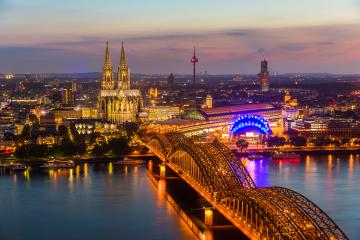 Cologne cathedral at sunset blue hour- Stock Photo or Stock Video of rcfotostock | RC-Photo-Stock