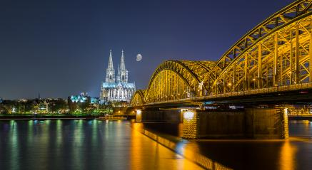 Cologne cathedral with Hohenzollern bridge at night- Stock Photo or Stock Video of rcfotostock | RC-Photo-Stock