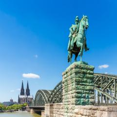 Cologne cathedral with Kaiser Wilhelm equestrian statue- Stock Photo or Stock Video of rcfotostock | RC-Photo-Stock